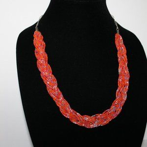 Stunning beaded braided necklace coral orange